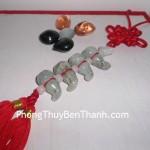 Ngọc bội treo 4 hồ lô đá Cẩm Thạch bảo trợ sức khỏe S232