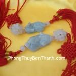 Ngọc bội treo Tỳ hưu nằm ôm mai hoa ngọc Miến Điện tài lộc S526